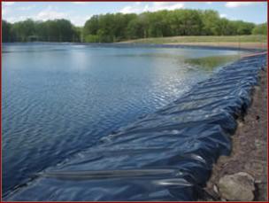 agricultural pond berm erosion liner